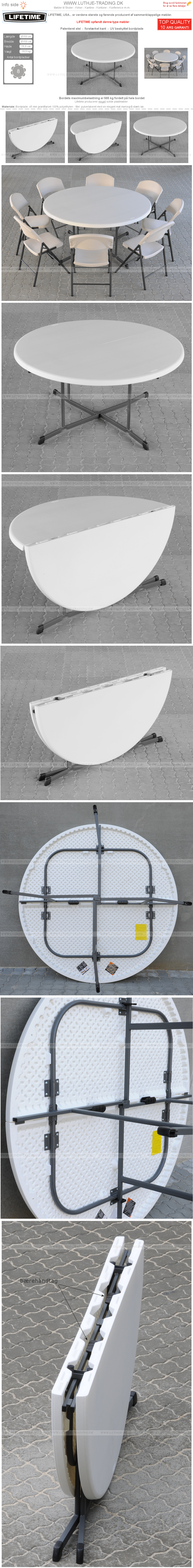 Plastborde Lifetime Ø153 cm.